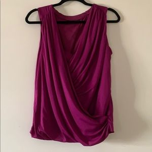 Mexx Magenta Sleeveless Faux Wrap Top Blouse L